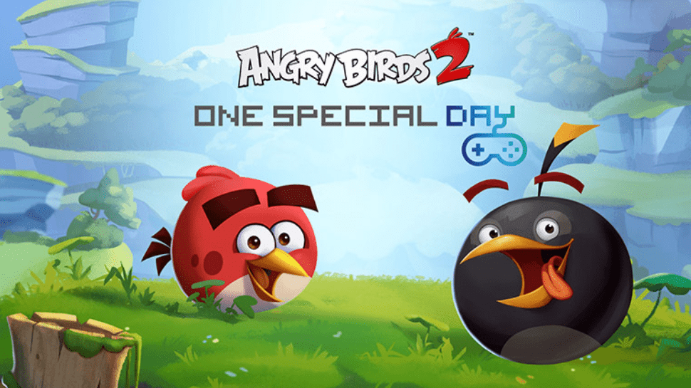 Picture of Angry Birds cartoons with One Special Day logo