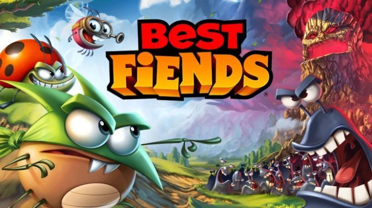 Cartoon picture showing Best Fiends title