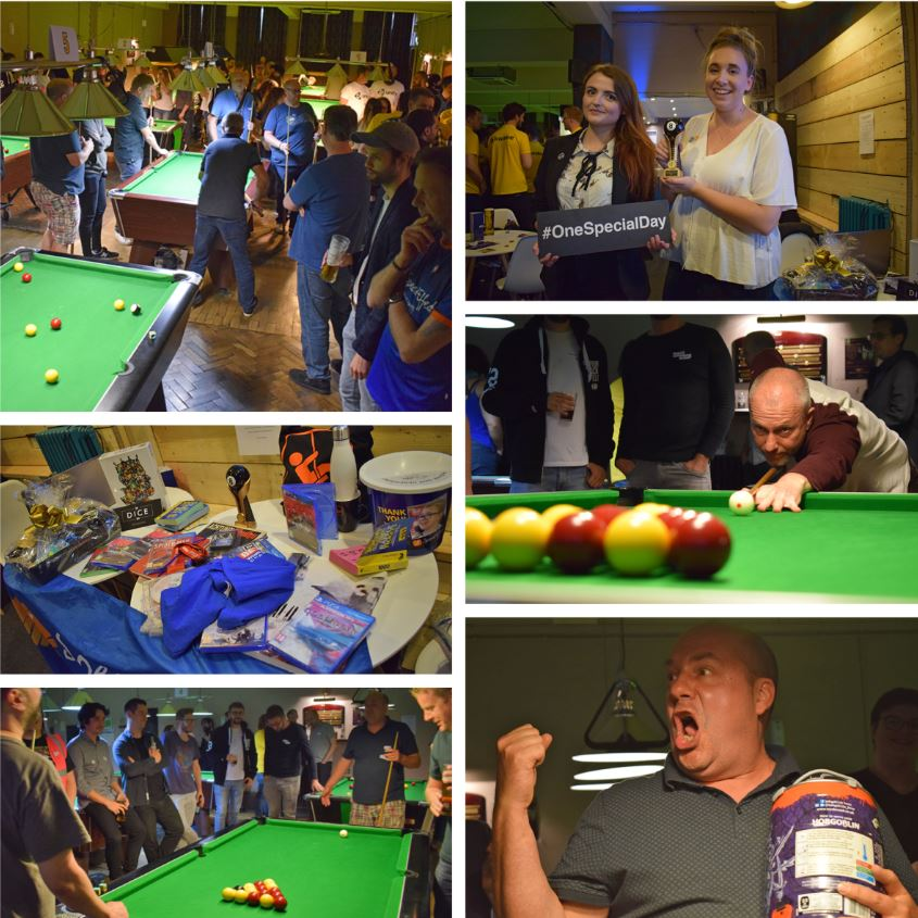 Montage of 6 photographs showing highlights of the pool competition