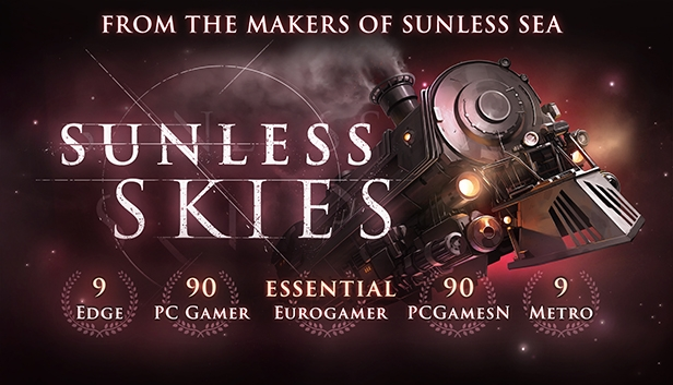 Advertisement for Sunless Skies with a background of a flying steam train