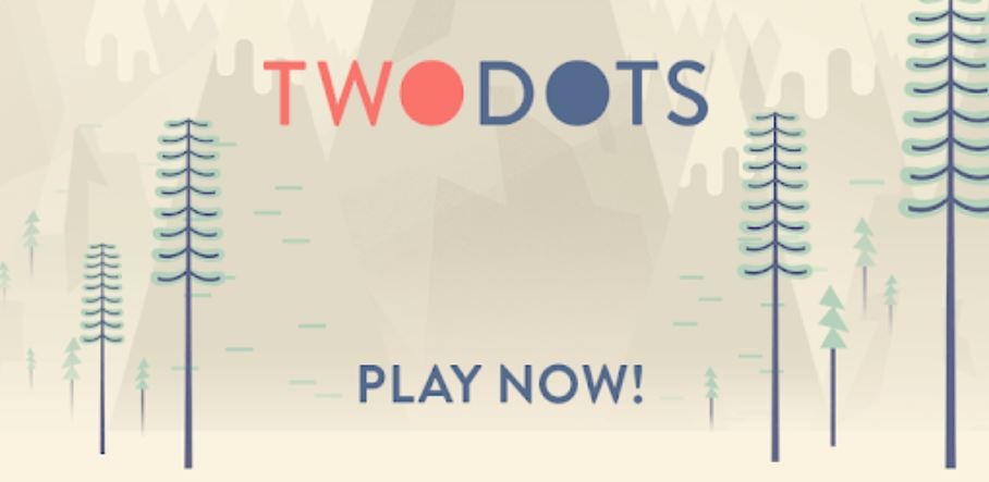The words Two Dots and Play Now against a cartoon snowy background