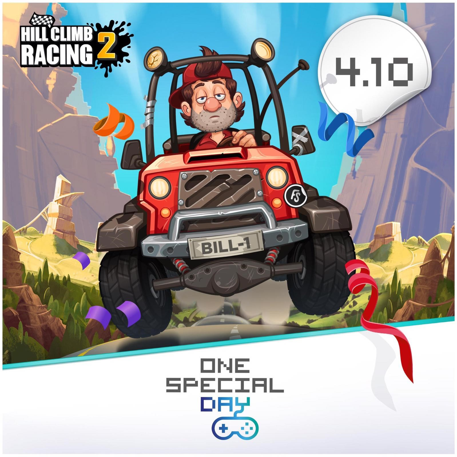 Cartoon image of Hill Climb Racer character, Bill Newton, in a funny car