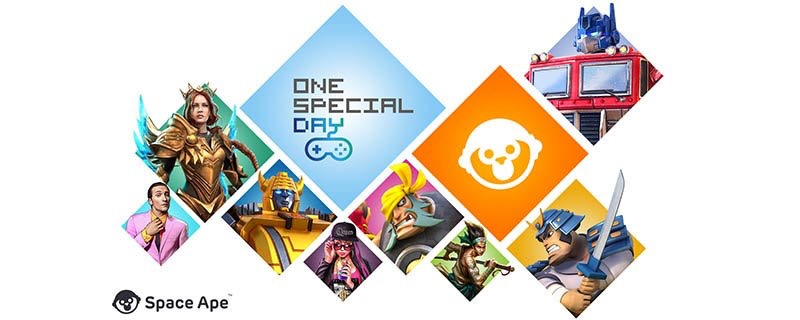 Collage of images from Space Ape games and a One Special Day logo