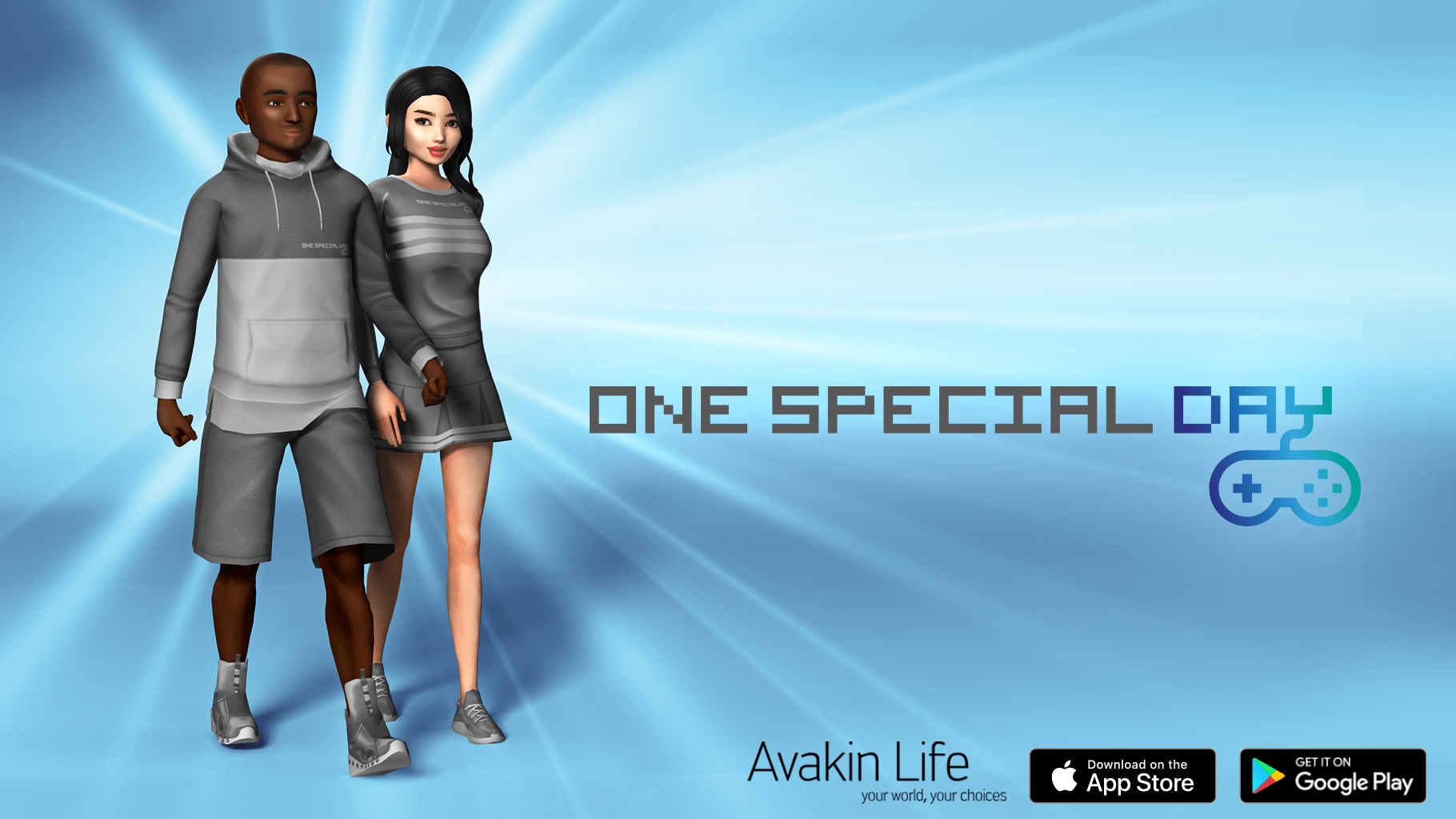 Two Avakin Life characters against a One Special Day background