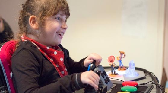 smiling girl playing games