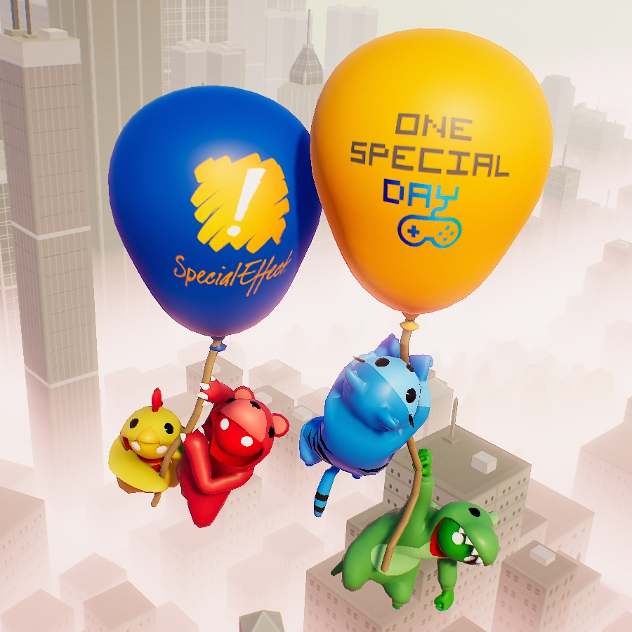 4 jelly like cartoon creatures holding balloons with SpecialEffect and One Special day logos