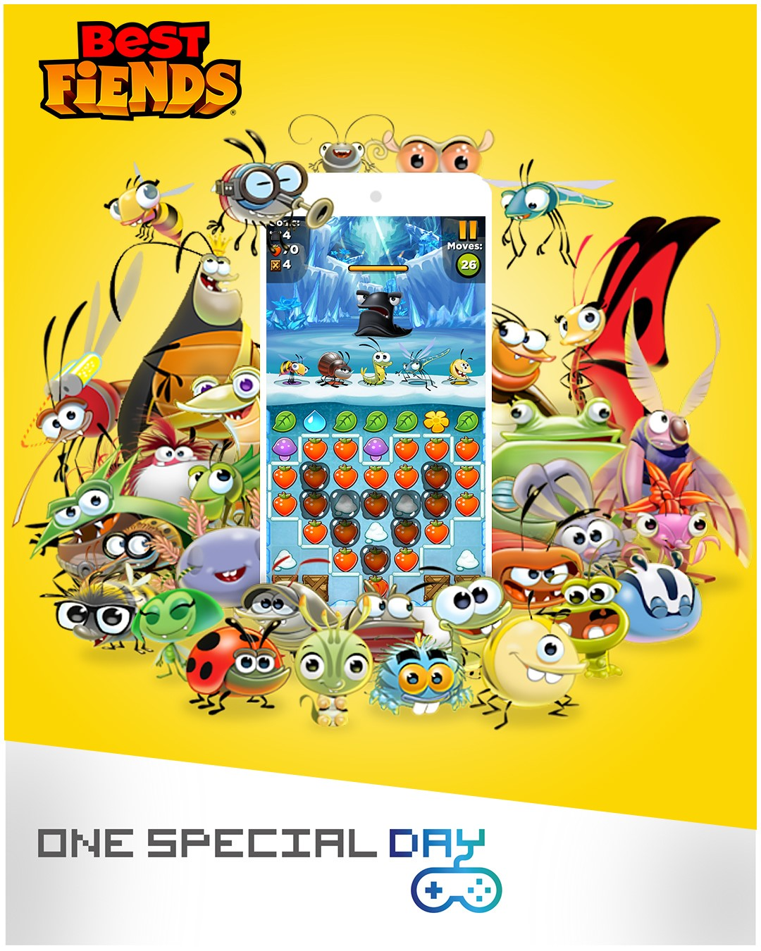 Cartoon characters from the Bset Fiends game and a One Special Day logo