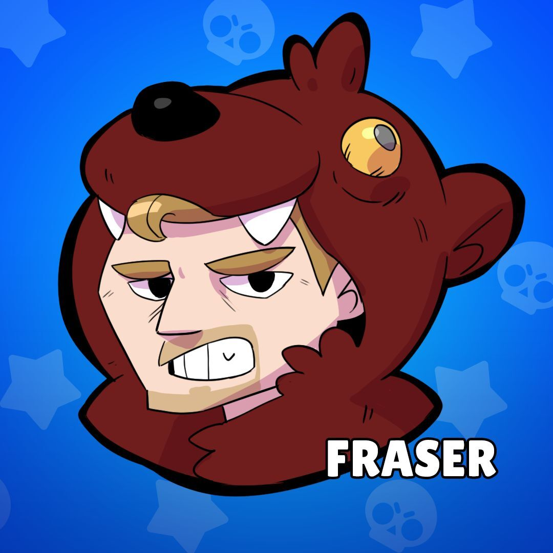 Cartoon man with a bear mask and the word Fraser