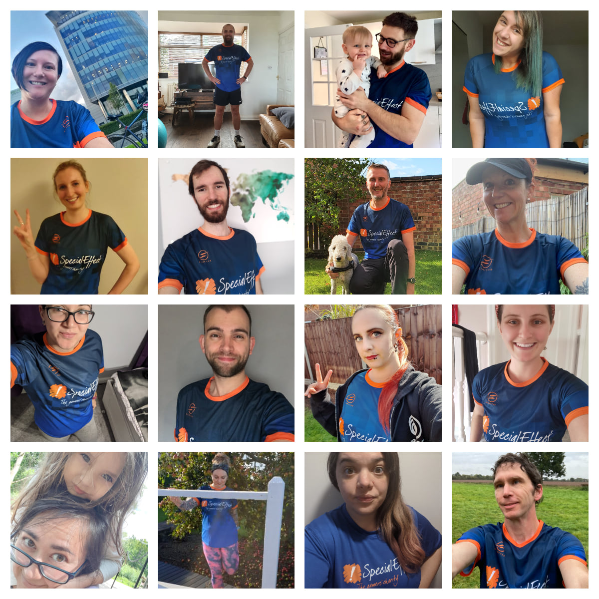 12 young people wearing SpecialEffect branded sports shirts
