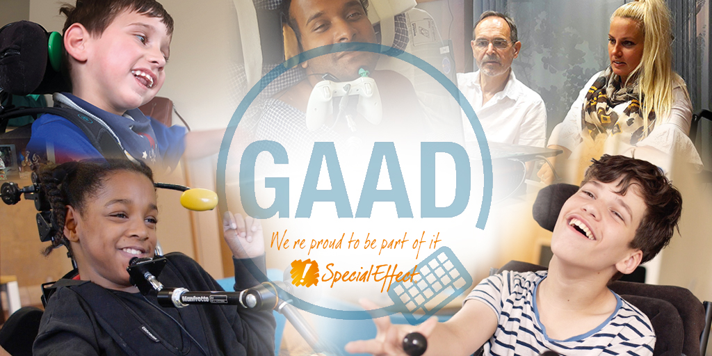 Montage of gamers around the GAAD logo