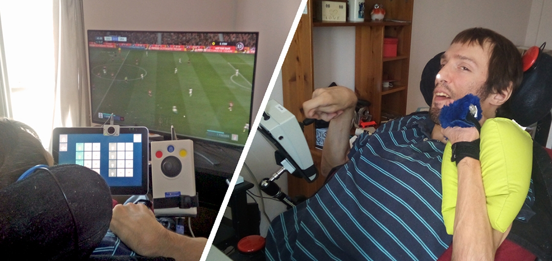 split image, one half showing fifa on screen, the other half shows man in chair using adaptive controls