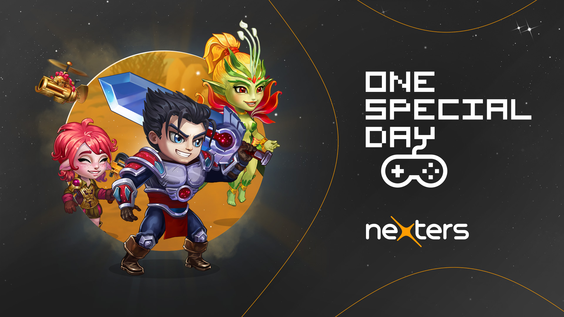 graphic with cartoon characters on left. One special day and nexters logos on the right
